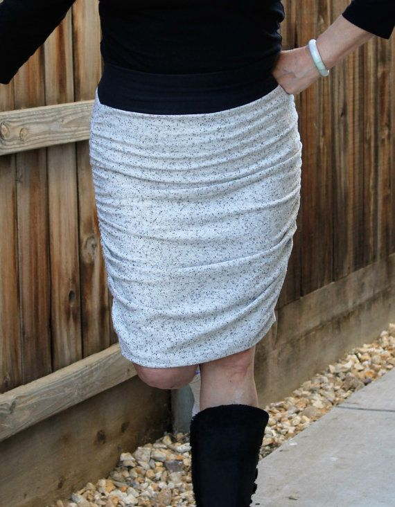 The Autumn Skirt Pdf Sewing Pattern Ruched Pencil By Radpatterns