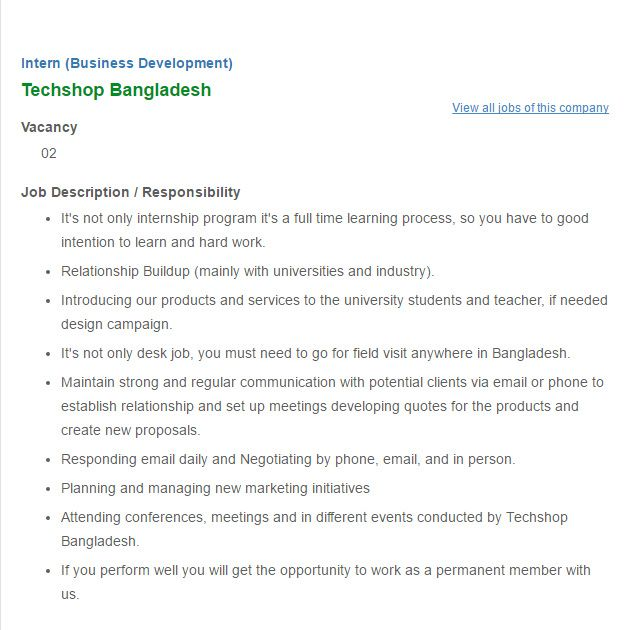 Techshop Bangladesh Job Circular Intern Business Development – Business Intern Job Description