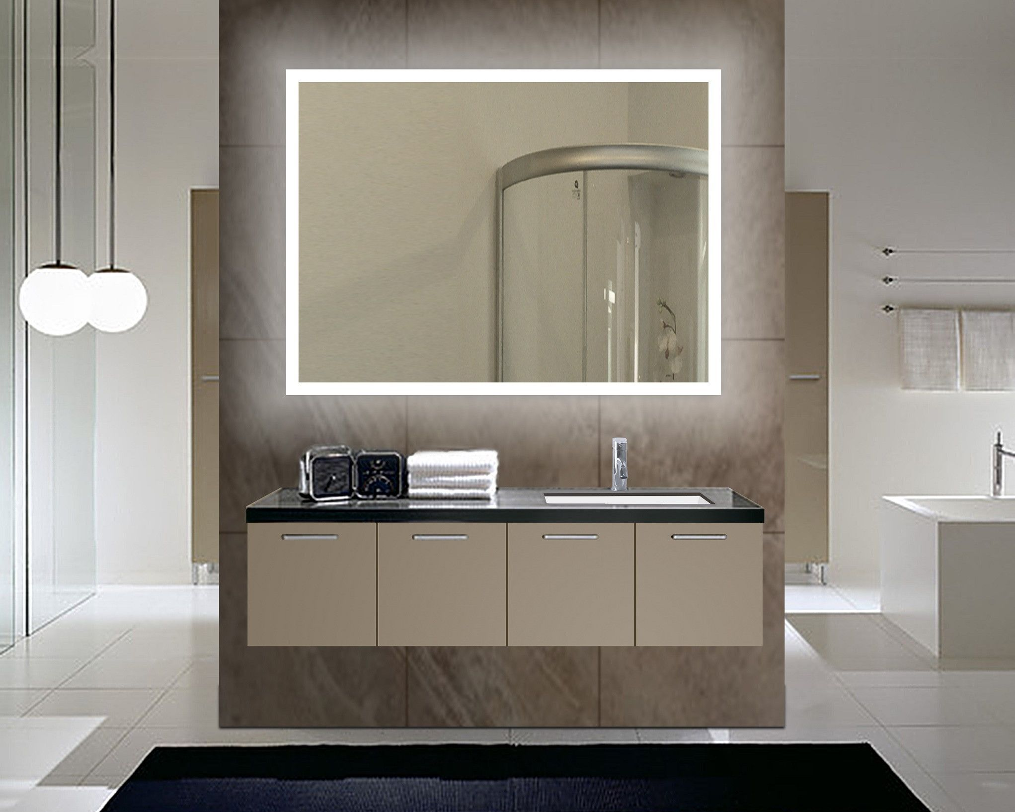 Dimmable backlit mirror rectangle x in baño pinterest
