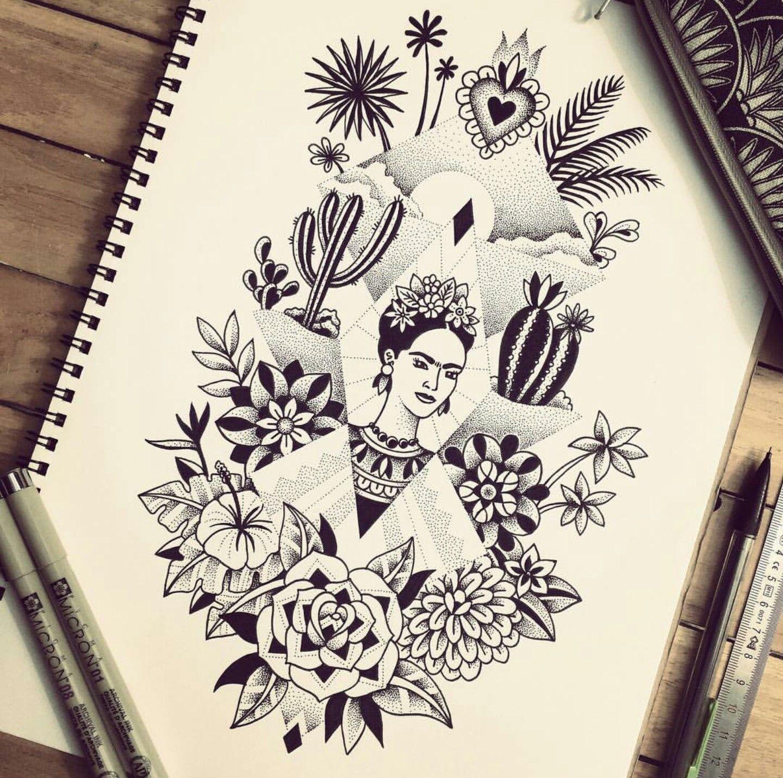 Frida Kahlo Violette Bleu Noir Frida Tattoo Frida Kahlo Tattoos Art Tattoo