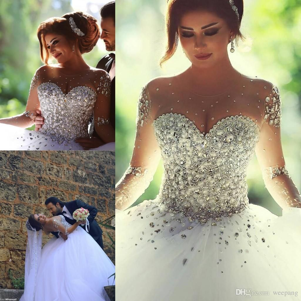 Cheap long sleeve wedding dresses with rhinestones crystals