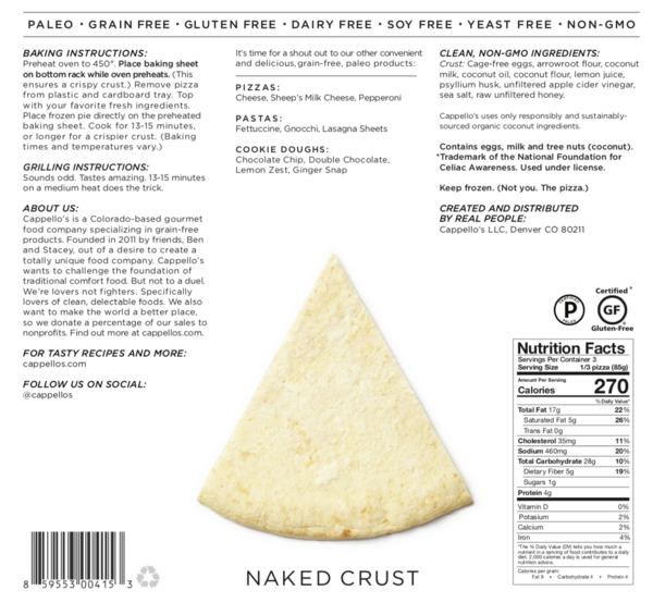 Cappellos Naked Pizza Crust | The JOY FM - Contemporary