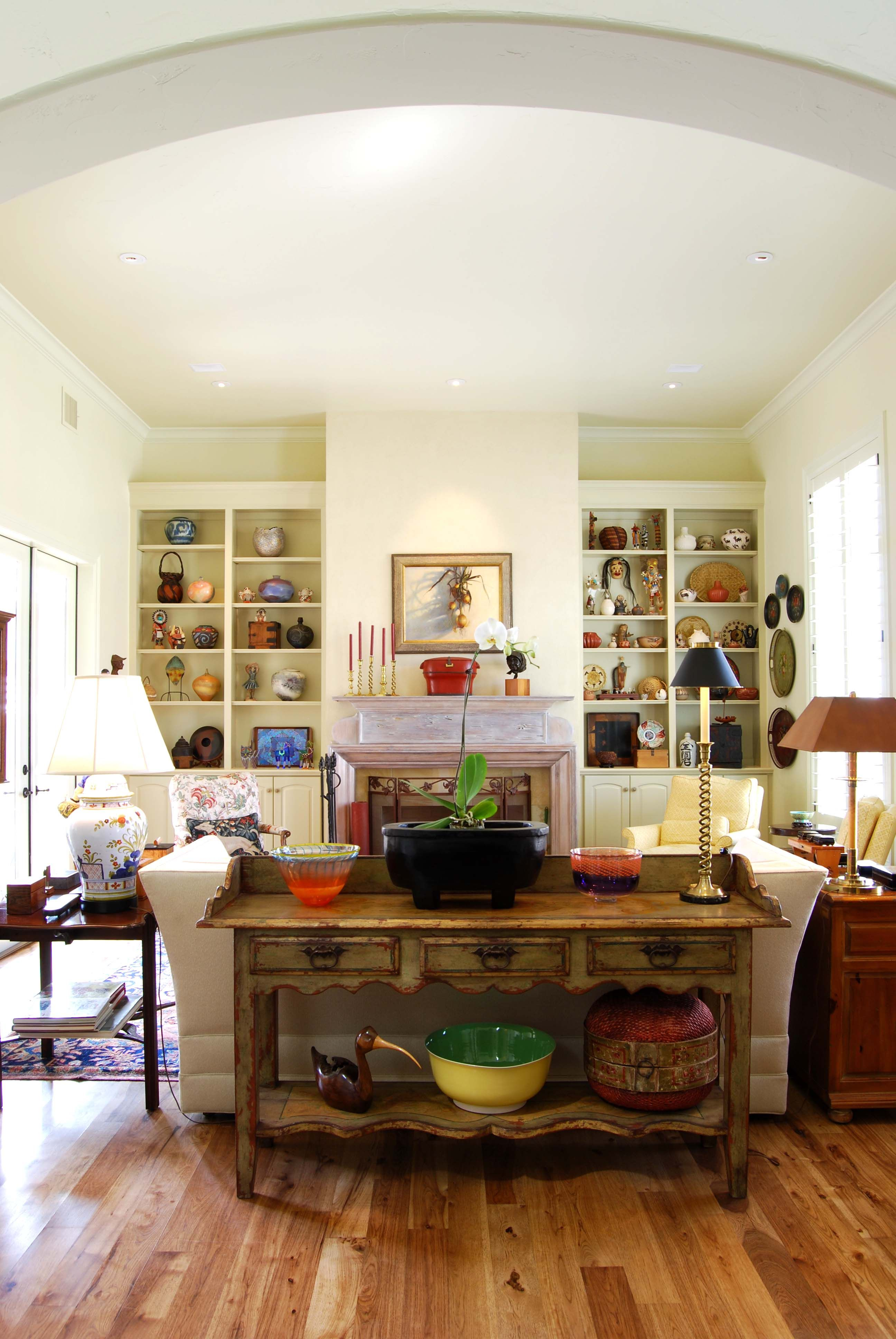 The living room of this Mediterranean style