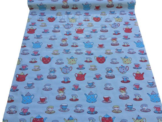 summer tea cups and saucers turquoise polka dots spots retro pvc oilcloth vinyl kitchen table covers - Kitchen Table Covers Vinyl