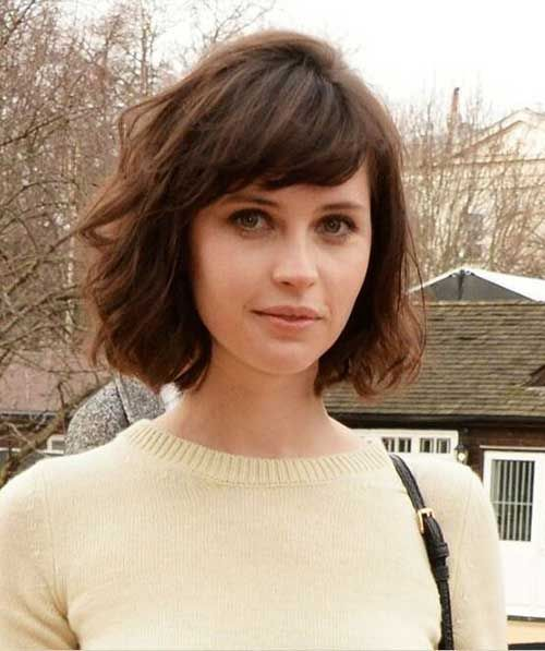 Pretty Short Bob Hairstyles With Side Swept Bangs Short