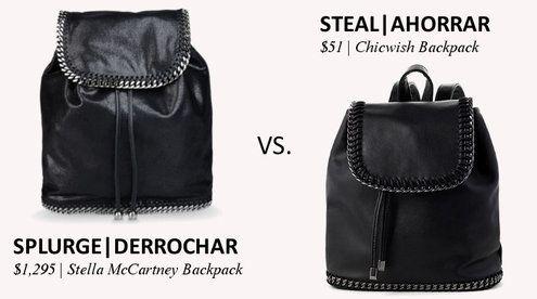 157e00b38e8 Splurge vs. StealSplurge  Stella McCartney Falabella Shaggy Deer Backpack  at Stella McCartney Steal  Chunky Chain Flap Backpack at Chicwish