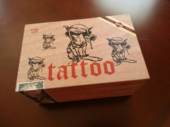 Cigar Box  All Wood Tattoo Cigar Box  Design 4 of by FunEclecticHF