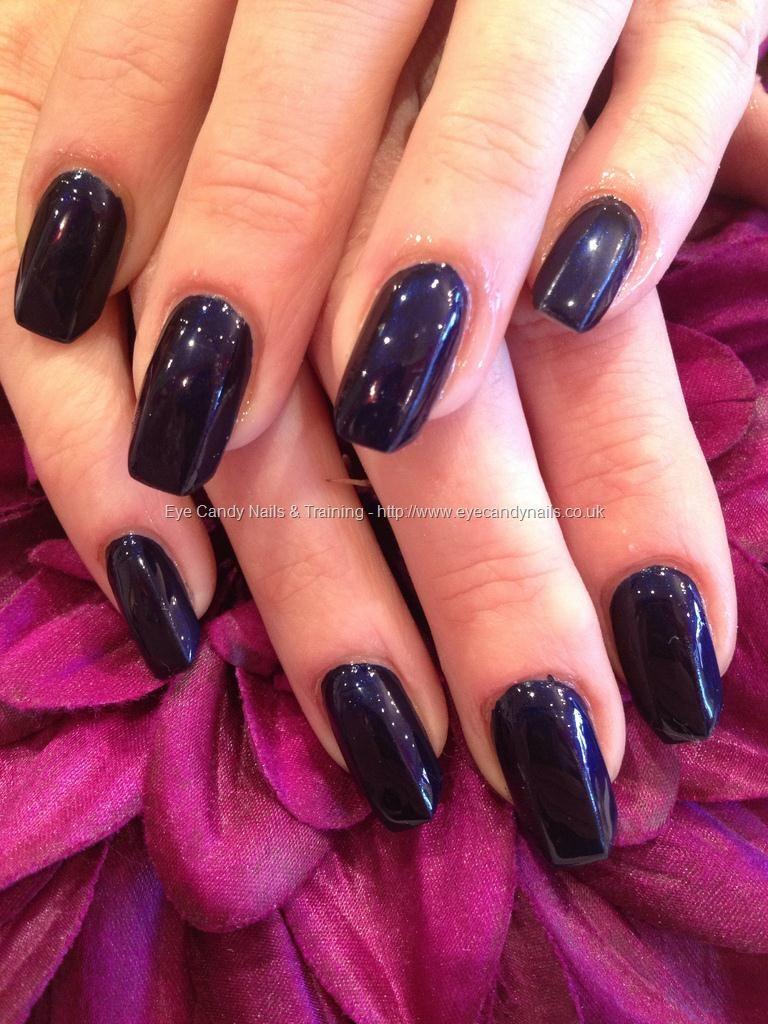 Dark navy blue on fringe shape acrylic nails | Hair & Beauty that I ...