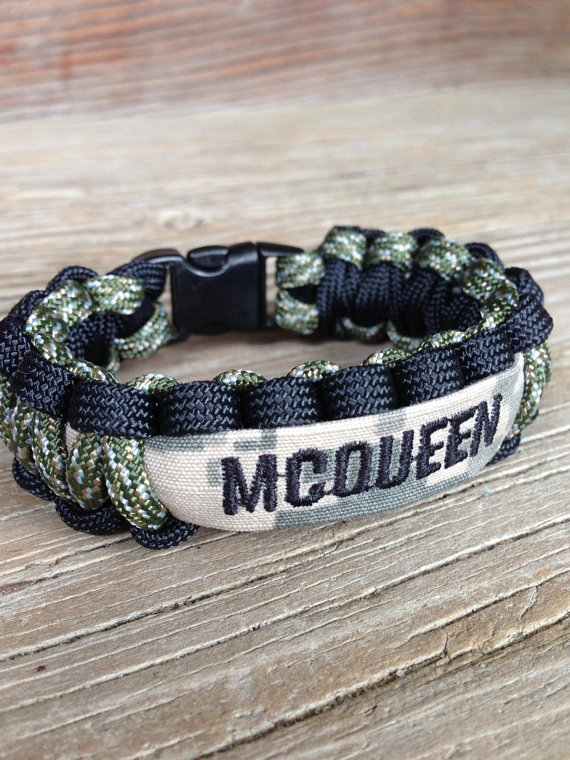 Custom Paracord Bracelet With Name Tape Army Air Force Marines On Etsy 13 50
