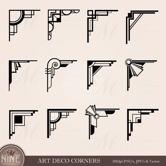 ART DECO CORNERS Clipart Digital Clip Art, Instant Download, Vintage Design  Elements Antique Borders