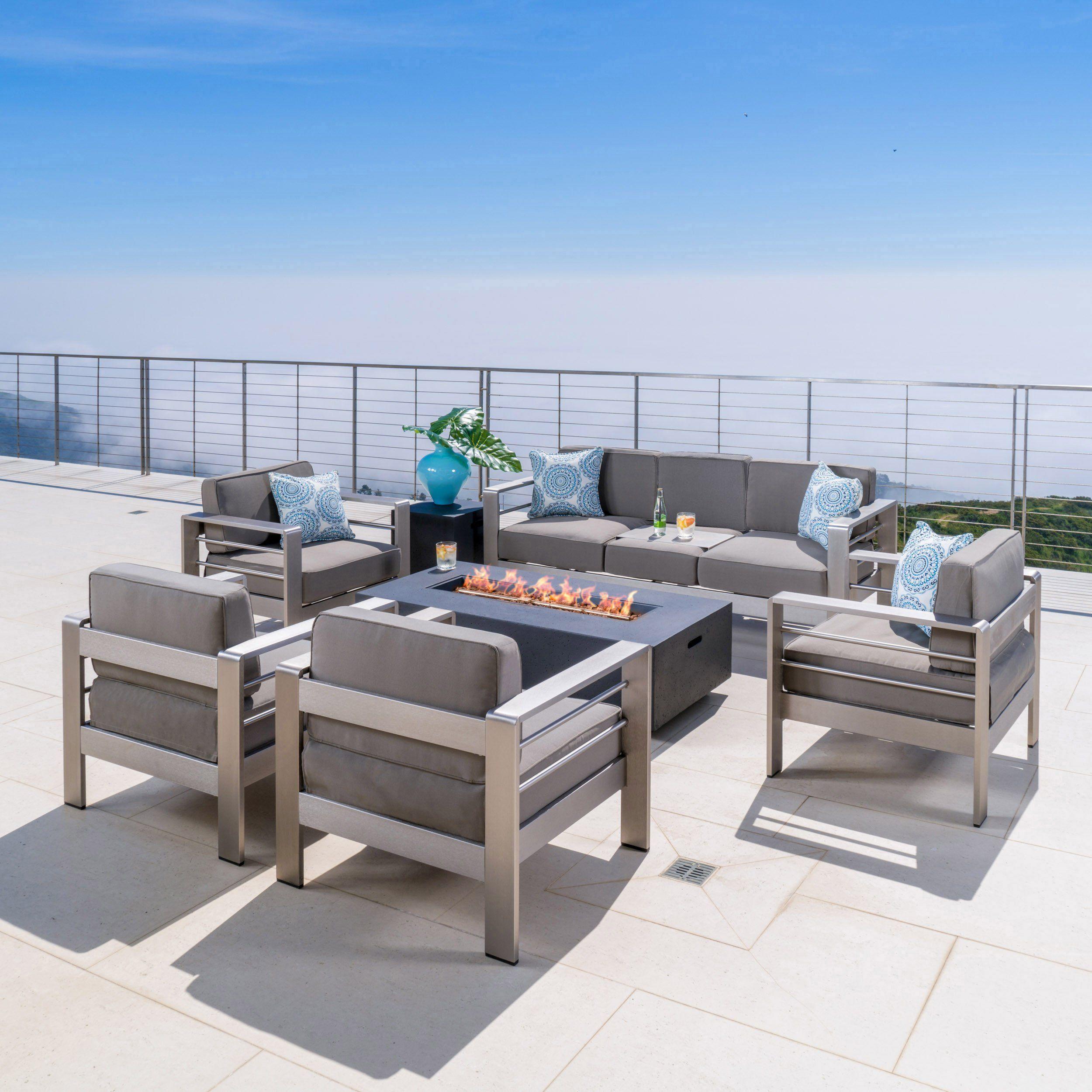 coral bay outdoor 4 pc club chair set w 3 seat loveseat firepit rh pinterest com