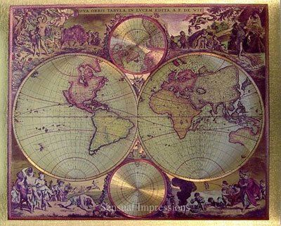 Unframed antique old world map in gold foil art print repro by dewit unframed antique old world map in gold foil art print repro by dewit go gumiabroncs