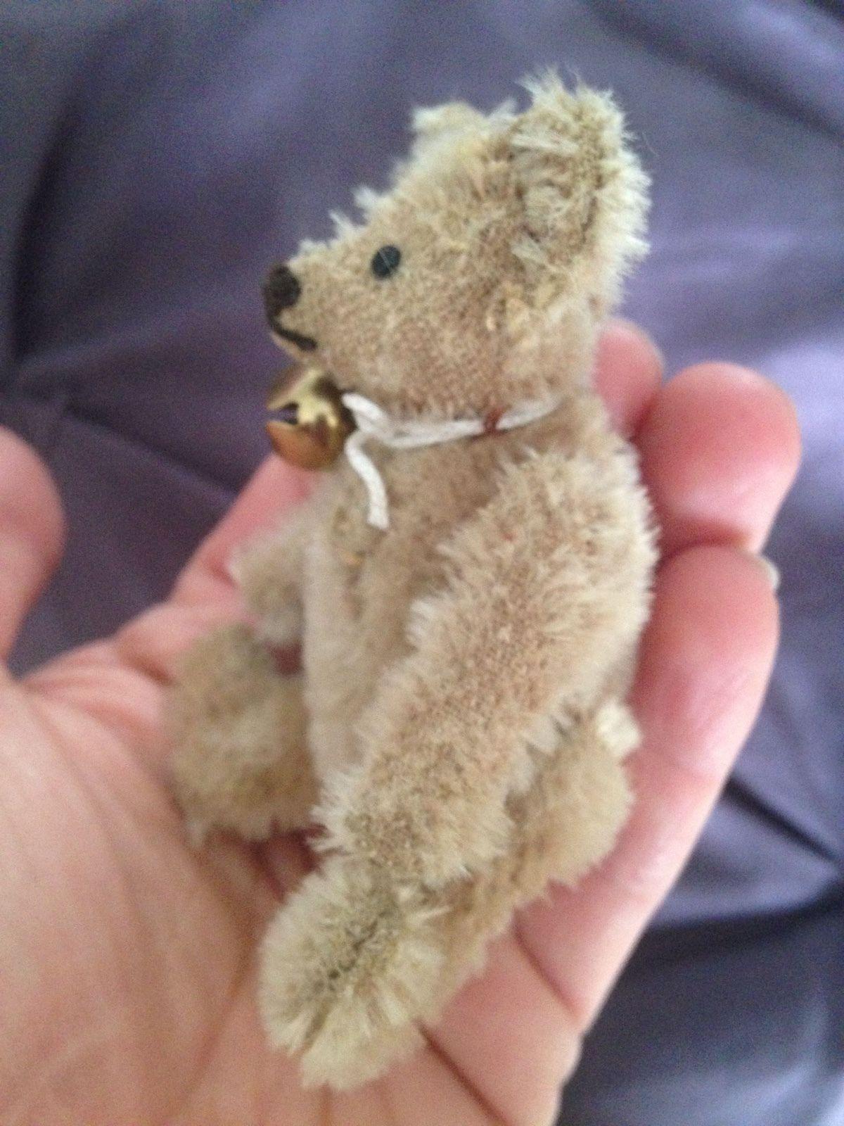 "RARE STEIFF Miniature Antique Vintage 3.5"" Mohair TAN BEAR"