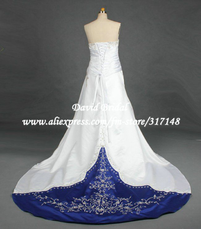 Royal+Blue+and+Black+Wedding | ... DR045 A Line Strapless Embroidery ...