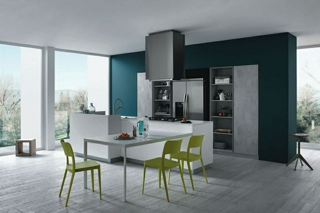 moderne minimalistische Küche graue Farbe grün