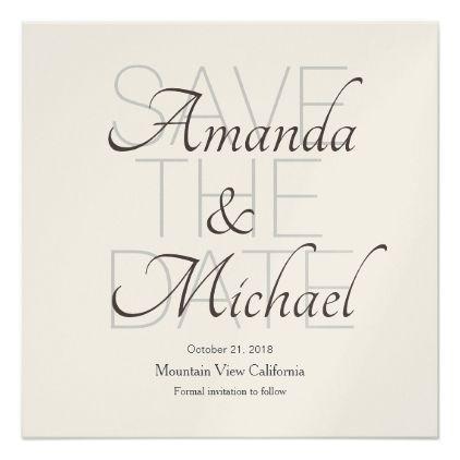 Save the Date Wedding Champagne Modern Minimalist Card - minimal - formal invitation style
