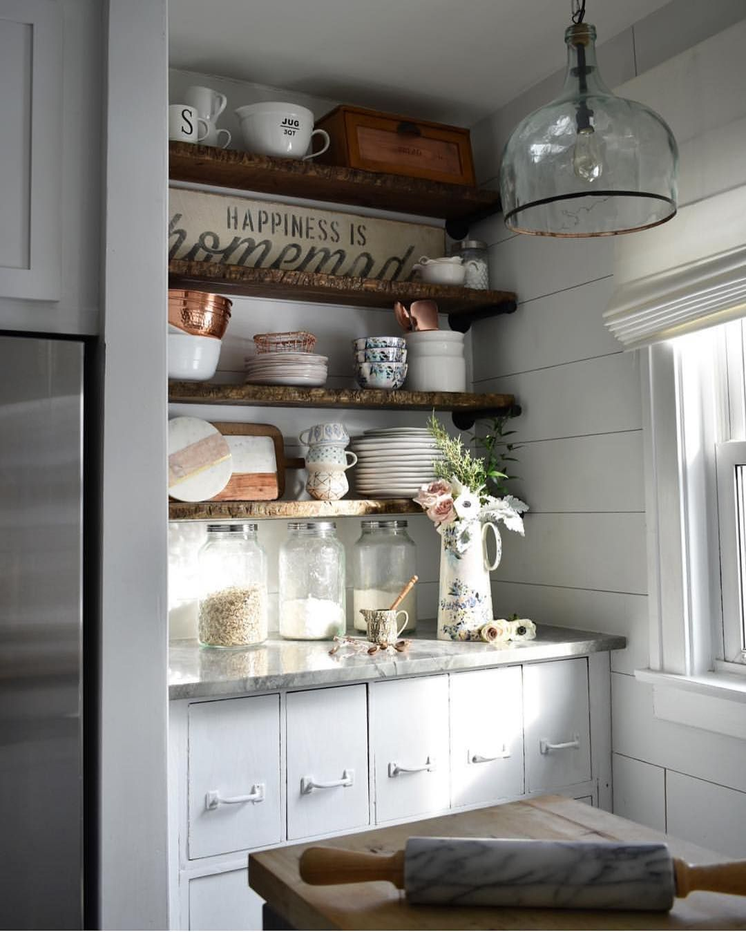 pin by barb gilpin on open shelving kitchen cabinets farmhouse rh pinterest com