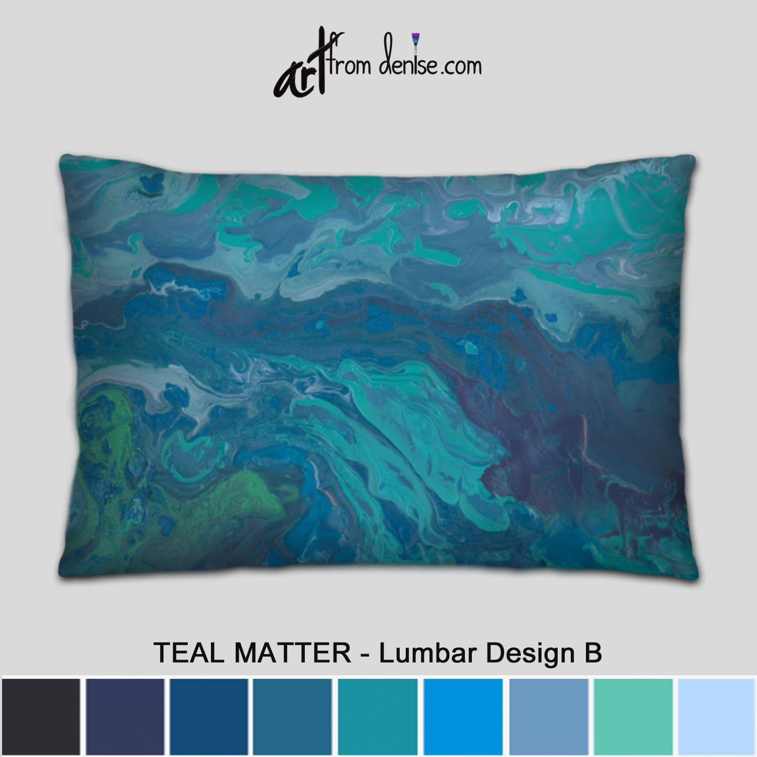 Green And Blue Lumbar Support Pillow Abstract Throw Pillows Etsy Couch Pillow Sets Throw Pillows Bed Large Couch Pillows