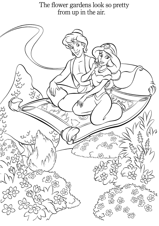 aladdin and jasmine colouring pages spring edition coloring