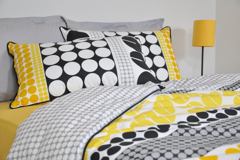 Yellow And Grey Twin Comforter Set: Geometric Dorm Bedding Set In Twin Twin XL, Black Yellow