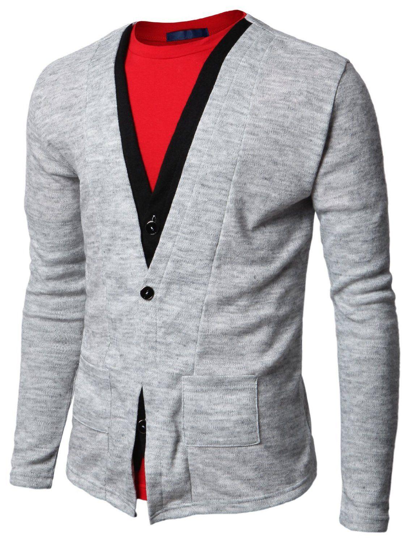 jiniy light grey dual layered men's cardigan $22   Grey Men's ...