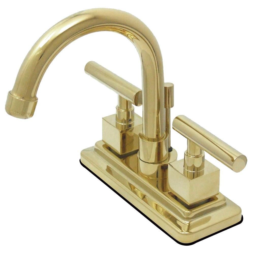 Images Of Kingston Claremont Polished Brass Two handle Centerset Bathroom Faucet KSCQL