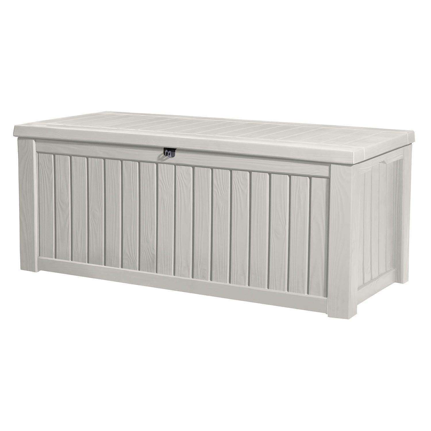 Keter Rockwood Jumbo 150 Gl 570 L White Outdoor Deck Storage Box Learn More By Deck Box Storage Outdoor Deck Storage Box Patio Furniture Cushion Storage