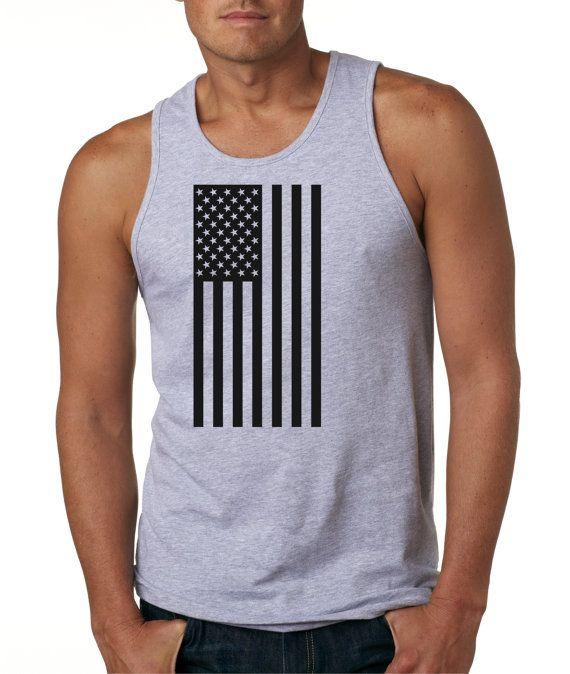 Men's United States Black Sideways Flag Tank Top By