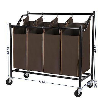 4 Bag Laundry Sorter Cart Rolling Hamper Heavy Duty Clothes