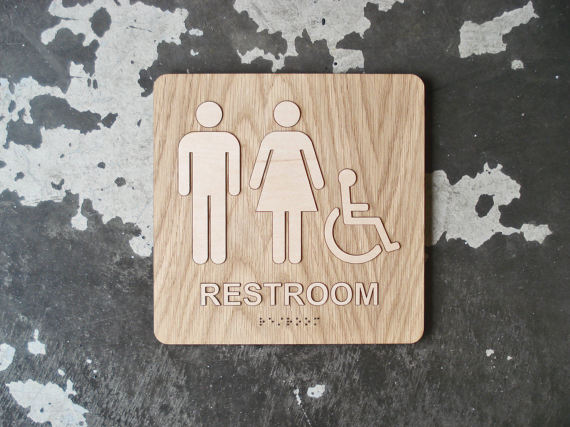 Ada Square Restroom Bathroom Sign Modern Signage 8 X8 Size