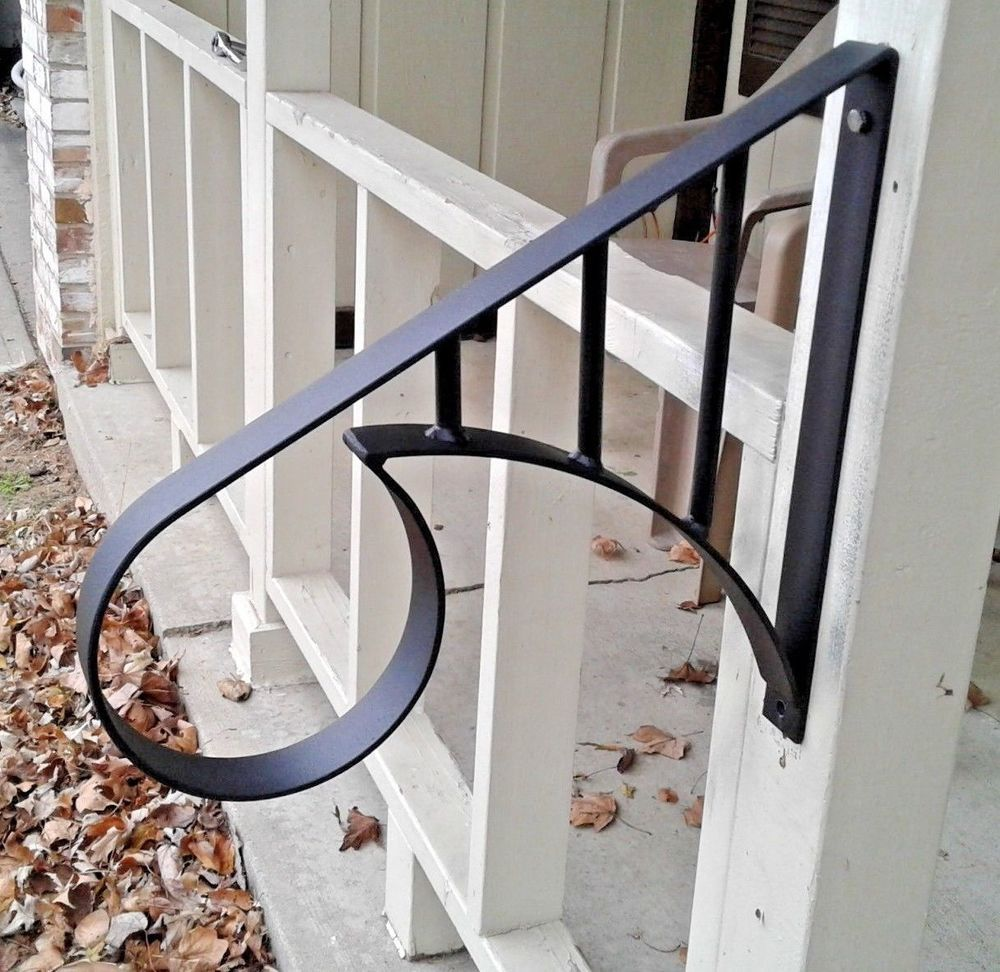 Best Wrought Iron Metal 1 2 Step Handrail Custom Made Home 640 x 480