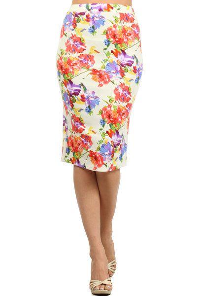 cfe500ff441a Floral print, high waisted, calf length, pencil skirt with an elasticized  waist band. MOMO 95%Polyester5%Spandex MADE IN USA ColoFluer