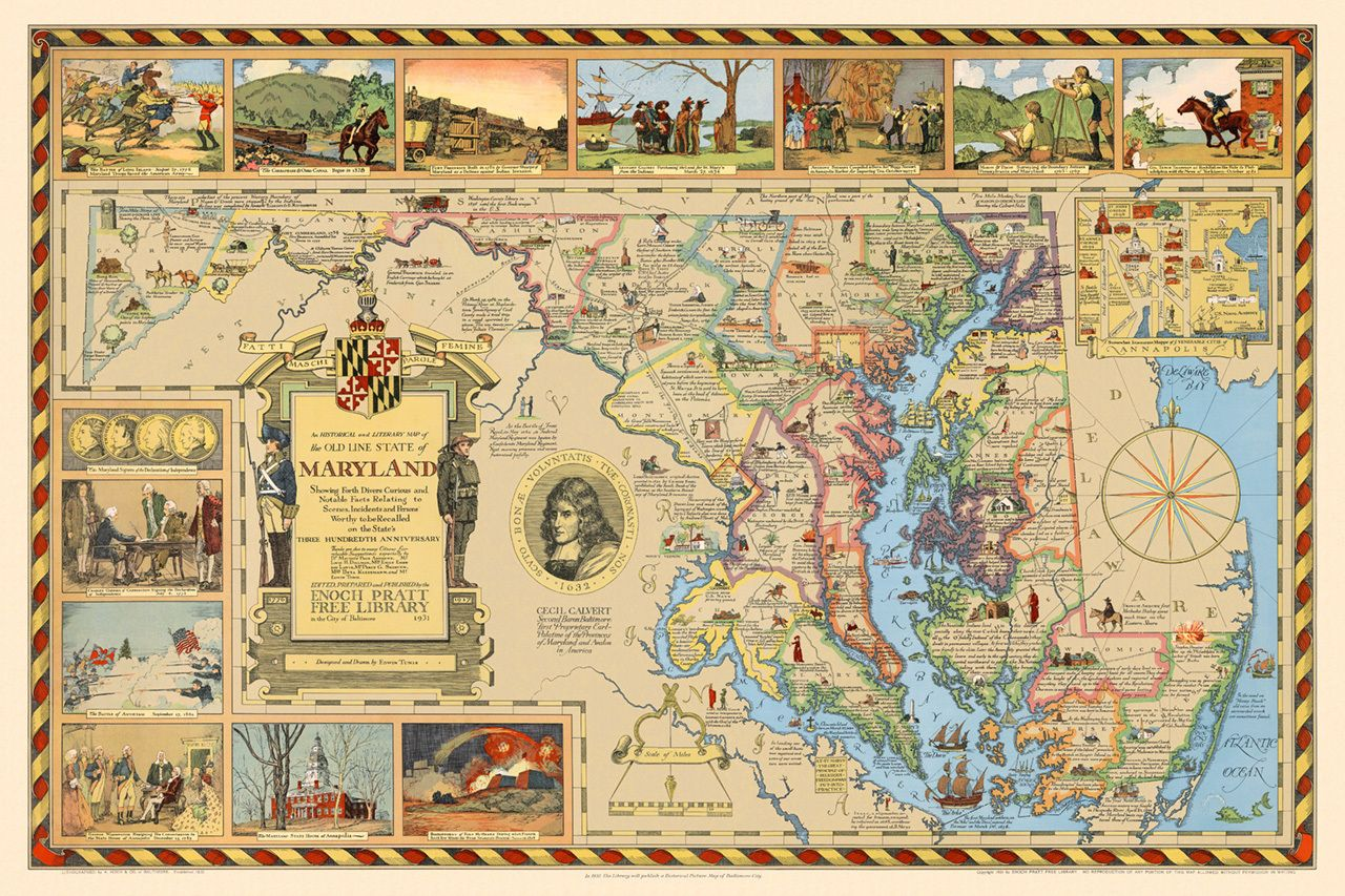 Historical u0026 Literary Map of Maryland Historical