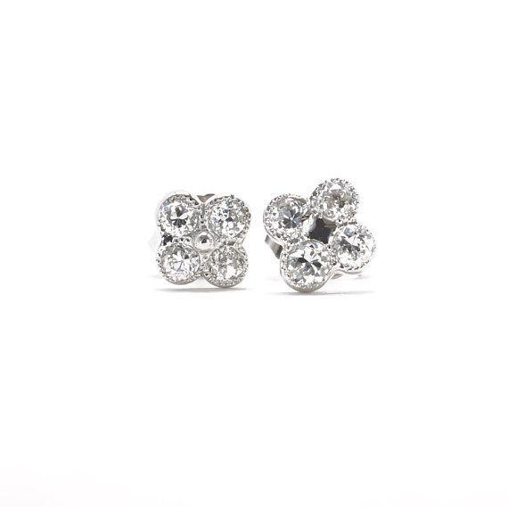 82a75e59c8d66 Diamond Earrings | Diamond Studs | Lucky Four Leaf Clover | Vintage ...