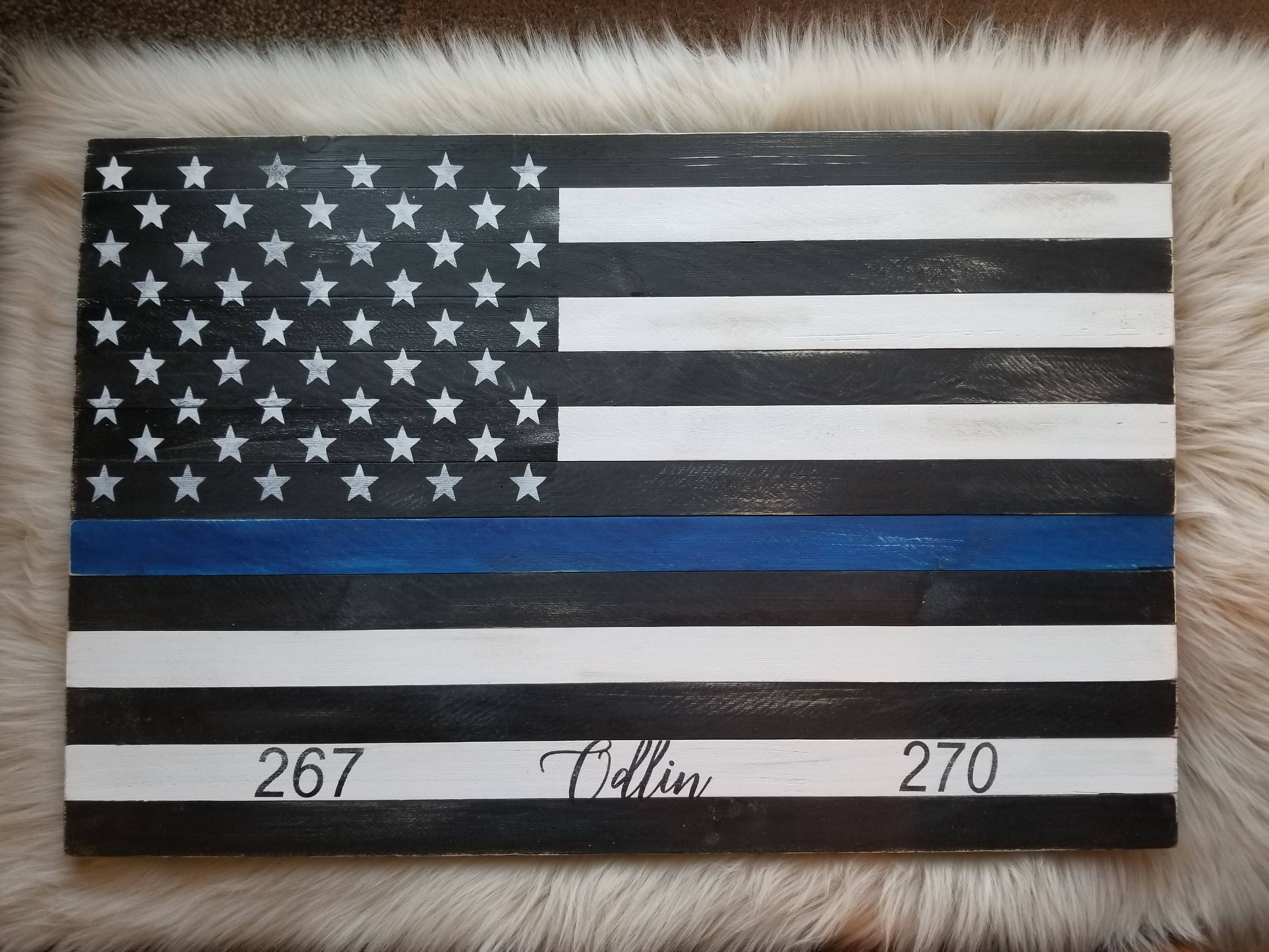 Excited To Share The Latest Addition To My Etsy Shop Wood Sign Thin Blue Line Flag Law Enforcement Decor Thi Wood Flag Patriotic Sign Rustic American Flag