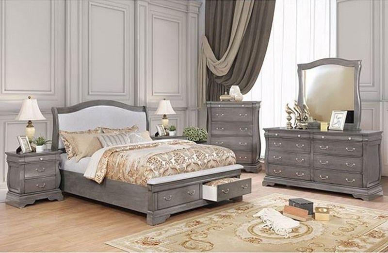 Merida Elegant Gray Wood Bedroom Set Bed Has Leatherette
