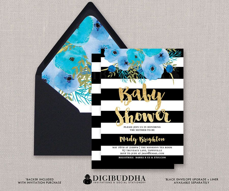 bridal shower invitation pictures%0A Black  u     White Baby Shower Invitation Blue by digibuddhaPaperie