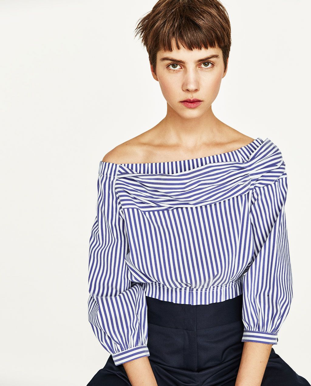 77c07af50 i love stripes and the blouse-y nature of this top. love the slight hint of  exposed shoulders. OFF-THE-SHOULDER STRIPED BLOUSE-View All-TOPS-WOMAN