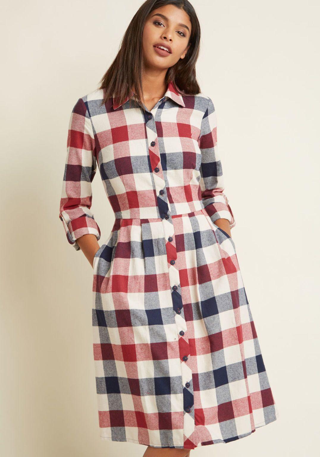 32d00eb5c5 Jam, Girl Shirt Dress in Mixed Berry Vestido Xadrez, Vestido Chique, Vestido  Godê