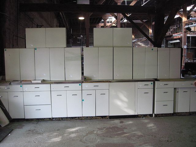 SOLD 1950s Metal Cabinets | Metal cabinet, Cabinet ...