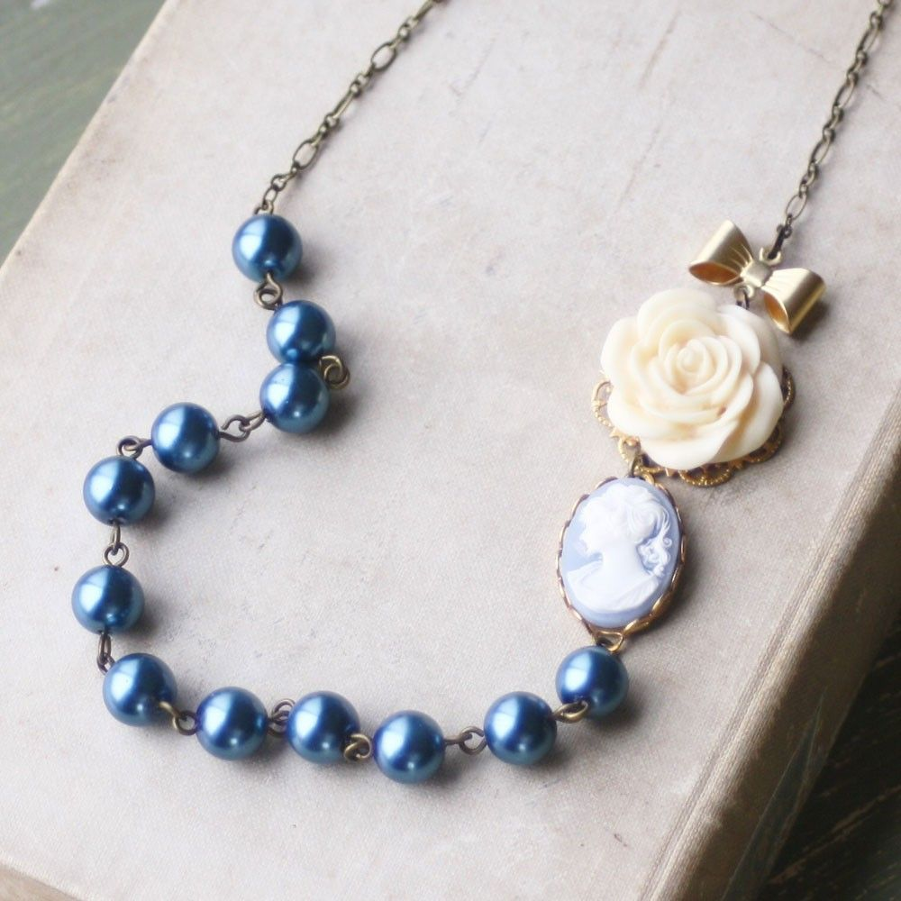 Cameo statement necklace blue pearl bib necklace flower statement