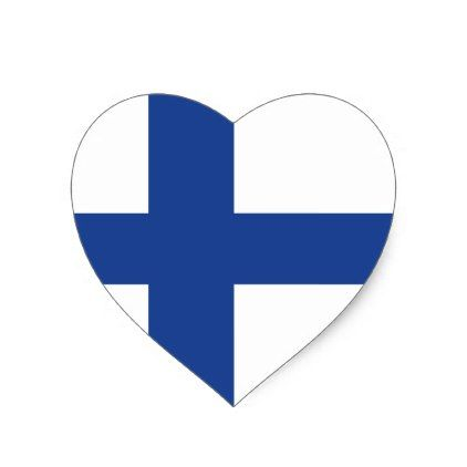 Love finland finnish flag heart sticker love gifts cyo personalize diy