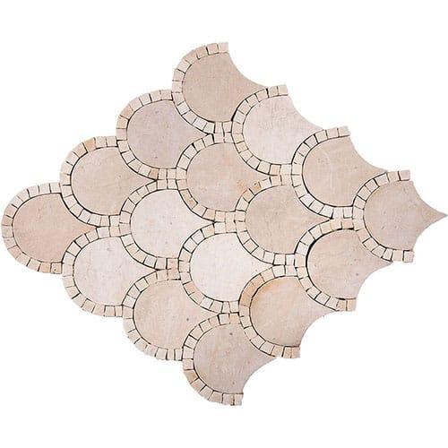 Melange Honed Scallop Limestone Mosaics 10x10 In 2020 Mosaic Limestone Mosaic Patterns