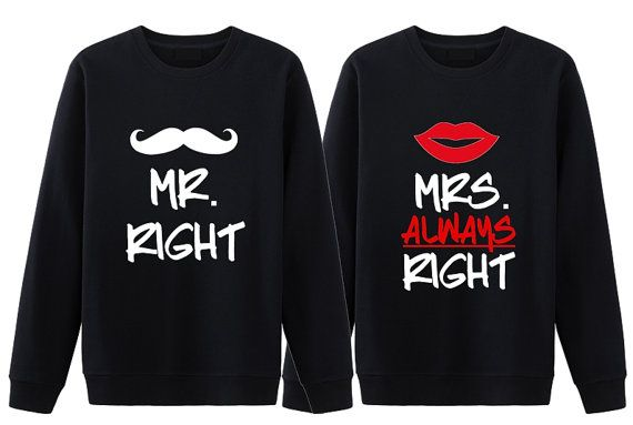 Mr Right and Mrs Always Right Couples Humor T-shirts Valentine/'s Day Ideas NEW