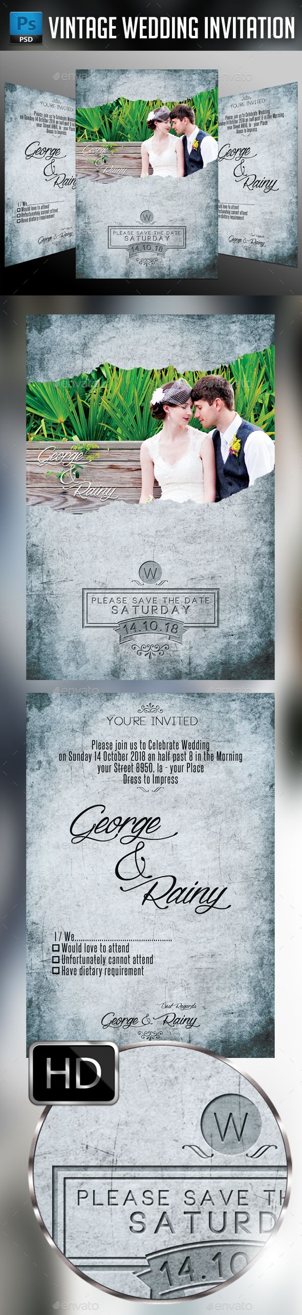 vintage wedding invitation text%0A Vintage Wedding Invitation  u     Photoshop PSD  save the date  invite  u      Available here