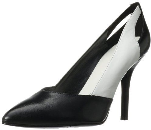 $79, Black and White Leather Pumps: Nine West Juana Dress Pump. Sold by Amazon.com. Click for more info: https://lookastic.com/women/shop_items/23398/redirect