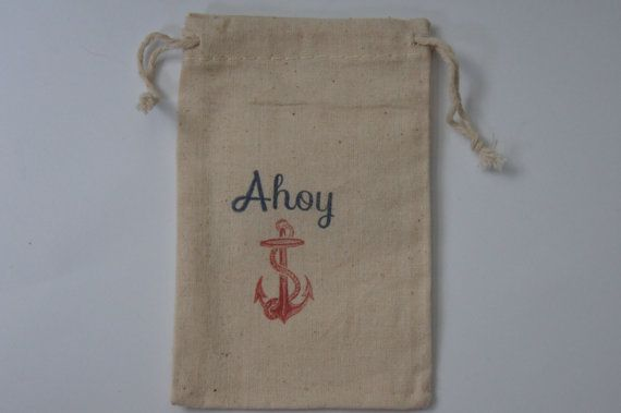 Ahoy Nautical 3x5 Muslin Favor Bags Set of 25 by WithLoveAndInk, $25.00