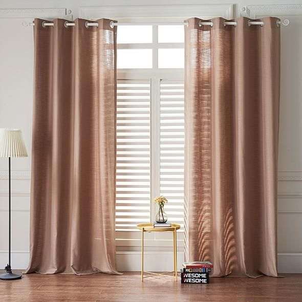 Awesome Curtain Ideas For Bay Window Living Room Eclectic: Modern Light Brown Color Linen Solid Sheer Curtain Window