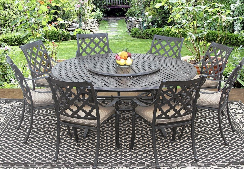 Strange Camino Real Cast Aluminum Outdoor Patio 9Pc Dining Set 8 Theyellowbook Wood Chair Design Ideas Theyellowbookinfo