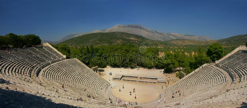 Ancient Greek theater. Panorama of ancient Greek theater